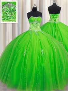 Floor Length Lace Up Vestidos de Quinceanera for Military Ball and Sweet 16 and Quinceanera with Beading