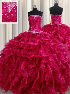 Best Fuchsia Strapless Lace Up Beading and Ruffles Quinceanera Gowns Sleeveless