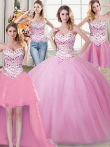 Best Four Piece Floor Length Rose Pink Quinceanera Gowns Sweetheart Sleeveless Lace Up
