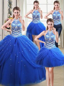 Luxurious Four Piece Halter Top Pick Ups Royal Blue Sleeveless Tulle Lace Up 15 Quinceanera Dress for Military Ball and Sweet 16 and Quinceanera