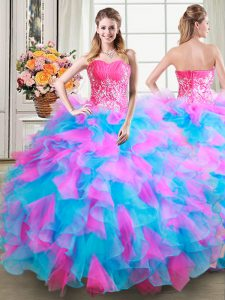 Latest Organza and Tulle Sweetheart Sleeveless Zipper Beading and Ruffles Quinceanera Dresses in Multi-color