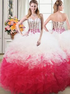 Pink And White Ball Gowns Beading and Ruffles Quince Ball Gowns Lace Up Organza Sleeveless Floor Length