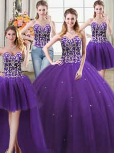 Four Piece Tulle Sweetheart Sleeveless Lace Up Beading Quinceanera Dress in Purple