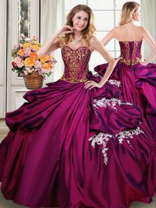 Most Popular Beading and Appliques and Pick Ups Quinceanera Dresses Burgundy Lace Up Sleeveless Floor Length