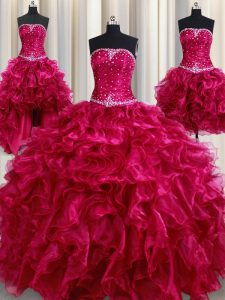 Four Piece Burgundy Organza Lace Up Sweet 16 Quinceanera Dress Sleeveless Floor Length Beading and Ruffles