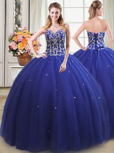 Exceptional Royal Blue Sleeveless Tulle Lace Up 15 Quinceanera Dress for Military Ball and Sweet 16 and Quinceanera