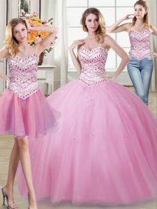 Three Piece Sleeveless Tulle Floor Length Lace Up Quinceanera Dress in Rose Pink with Beading