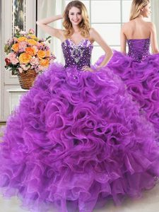 Dazzling Organza Sweetheart Sleeveless Lace Up Beading and Ruffles Party Dress Wholesale in Eggplant Purple