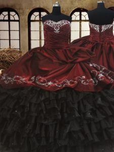 Sleeveless Organza and Taffeta Floor Length Lace Up Party Dress for Toddlers in Red And Black with Beading and Embroidery and Ruffled Layers
