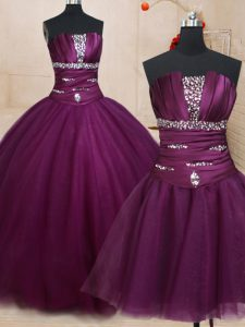 Three Piece Beading Quinceanera Dresses Dark Purple Lace Up Sleeveless Floor Length