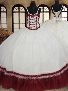 Straps White And Red Ball Gowns Beading Quince Ball Gowns Lace Up Organza Sleeveless Floor Length