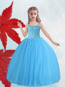 Top Selling Baby Blue Taffeta and Tulle Lace Up Straps Sleeveless Floor Length Pageant Gowns For Girls Beading
