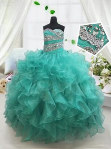 Enchanting Beading and Ruffles Kids Formal Wear Turquoise Lace Up Sleeveless Floor Length
