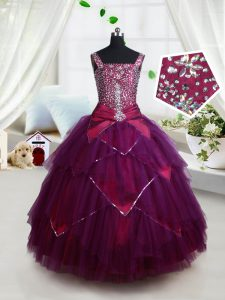 Square Floor Length Lace Up Kids Formal Wear Dark Purple for Quinceanera and Wedding Party with Beading and Ruffles and Belt