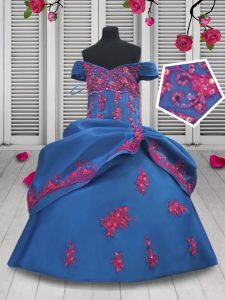 Off the Shoulder Floor Length Lace Up Pageant Dress Toddler Blue for Quinceanera and Wedding Party with Beading and Appliques and Pick Ups