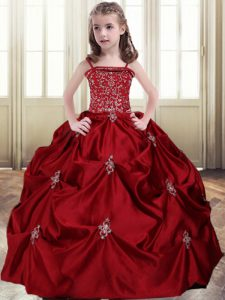Dramatic Wine Red Ball Gowns Spaghetti Straps Sleeveless Taffeta Floor Length Lace Up Beading and Pick Ups Evening Gowns