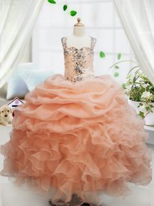 Straps Sleeveless Floor Length Beading and Ruffles and Pick Ups Zipper Glitz Pageant Dress with Orange