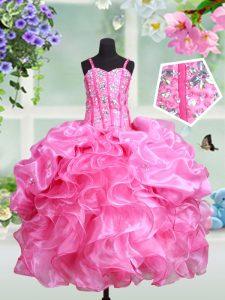 Eye-catching Rose Pink Kids Formal Wear Quinceanera and Wedding Party with Beading and Ruffles and Pick Ups Straps Sleeveless Lace Up