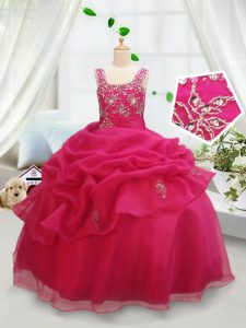 Hot Pink Square Neckline Beading and Pick Ups Little Girl Pageant Dress Sleeveless Zipper