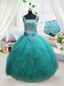 Turquoise Tulle Lace Up Square Sleeveless Floor Length Pageant Dresses Beading and Ruffles and Belt