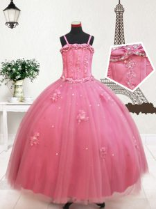 Cute Straps Hot Pink Sleeveless Beading and Appliques Floor Length Pageant Gowns For Girls