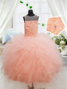 Fantastic Peach Ball Gowns Tulle Scoop Sleeveless Beading and Lace and Ruffles Floor Length Zipper Evening Gowns