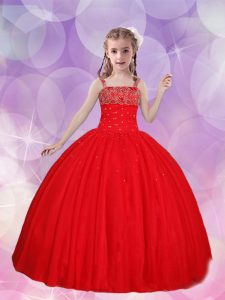 New Arrival Straps Sleeveless Pageant Dress Floor Length Beading Red Tulle