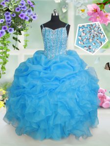 Floor Length Baby Blue Child Pageant Dress Organza Sleeveless Beading and Ruffles and Pick Ups