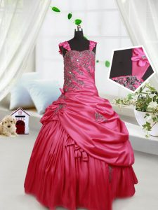 Trendy Straps Sleeveless Beading and Appliques and Pick Ups Lace Up Little Girl Pageant Gowns