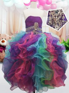 Beading and Ruffles Pageant Dress for Teens Multi-color Zipper Sleeveless Floor Length