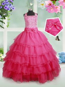 Halter Top Hot Pink Organza Zipper Glitz Pageant Dress Sleeveless Floor Length Beading and Ruffled Layers and Bowknot