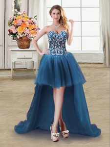 Beautiful Sleeveless Tulle High Low Lace Up Cocktail Dress in Teal with Beading and Sequins