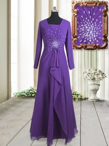 Classical Purple Zipper Square Beading Homecoming Dress Chiffon Long Sleeves
