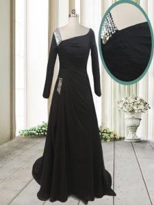 Decent Black Chiffon Side Zipper Asymmetric Long Sleeves With Train Sweep Train Beading