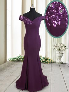 Mermaid Off the Shoulder Dark Purple Zipper Prom Evening Gown Beading and Sequins Sleeveless Brush Train