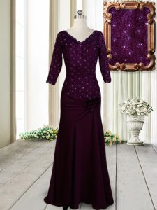 Sumptuous Dark Purple Empire Beading and Lace and Hand Made Flower Juniors Evening Dress Zipper Elastic Woven Satin Half Sleeves Floor Length