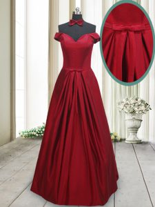 Wonderful Floor Length Wine Red Prom Dresses Off The Shoulder Sleeveless Lace Up
