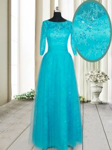 Custom Made Teal Dress for Prom Prom with Beading and Lace and Appliques Scoop Half Sleeves Zipper