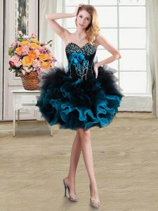 Blue And Black Lace Up Sweetheart Beading and Ruffles and Hand Made Flower Cocktail Dresses Organza and Tulle Sleeveless