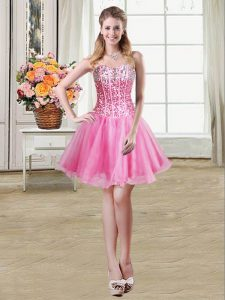 Wonderful Sleeveless Mini Length Sequins Lace Up Cocktail Dresses with Rose Pink