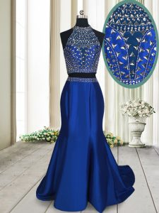 Custom Made Sweep Train Two Pieces Royal Blue High-neck Satin Sleeveless With Train Criss Cross