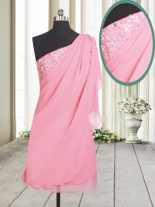 Affordable One Shoulder Rose Pink A-line Beading Homecoming Dresses Side Zipper Chiffon Sleeveless