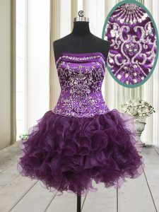 Trendy Mini Length Lace Up Cocktail Dress Dark Purple for Prom and Party with Beading and Ruffles