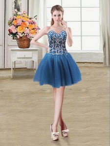 Teal Ball Gowns Sweetheart Sleeveless Tulle Mini Length Lace Up Beading and Sequins Cocktail Dresses