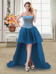 Low Price Sweetheart Sleeveless Cocktail Dresses High Low Beading Teal Tulle