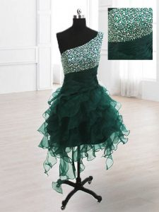 One Shoulder Knee Length Peacock Green Cocktail Dresses Organza Sleeveless Beading and Ruffles
