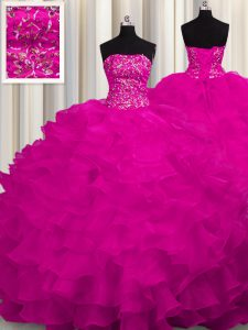 Perfect Fuchsia Strapless Lace Up Beading and Ruffles Sweet 16 Dresses Sweep Train Sleeveless