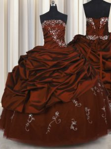 Embroidery Sleeveless Taffeta Floor Length Lace Up Sweet 16 Dress in Burgundy with Beading and Appliques and Pick Ups