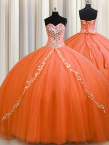 Brush Train Orange Sweetheart Neckline Beading Sweet 16 Quinceanera Dress Sleeveless Lace Up