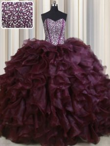 Dazzling Visible Boning Burgundy Organza Lace Up Quinceanera Dress Sleeveless With Brush Train Beading and Ruffles